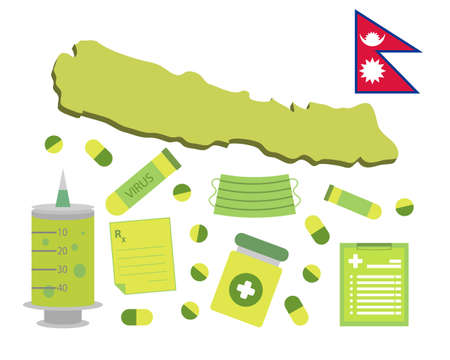 Virus-themed vector work in Nepal. Along with medicines and healthcare icons. Corona Virus outbreak. Illustration