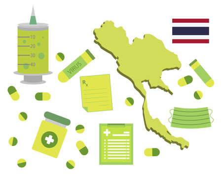 Virus-themed vector work in Thailand. Along with medicines and healthcare icons. Corona Virus outbreak.