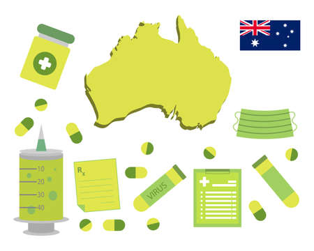 Virus-themed vector work in Australia. Along with medicines and healthcare icons. Corona Virus outbreak.