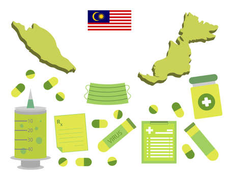 Virus-themed vector work in Malaysia. Along with medicines and healthcare icons. Corona Virus outbreak.