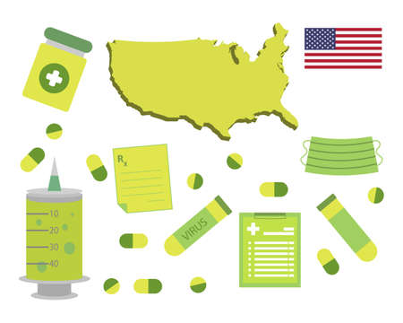 Virus-themed vector work in Usa. Along with medicines and healthcare icons. Corona Virus outbreak.
