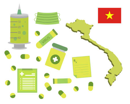 Virus-themed vector work in Vietnam. Along with medicines and healthcare icons. Corona Virus outbreak. Illustration