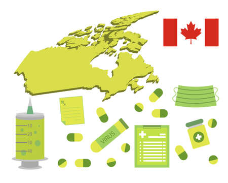 Virus-themed vector work in Canada. Along with medicines and healthcare icons. Corona Virus outbreak. Illustration