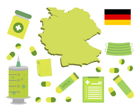 Virus-themed vector work in Germany. Along with medicines and healthcare icons. Corona Virus outbreak.