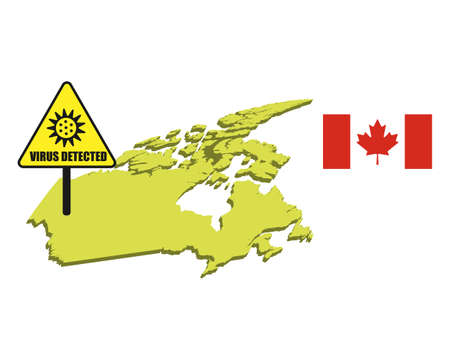 Canada flag with virus detected barrier. Corona Virus outbreak.