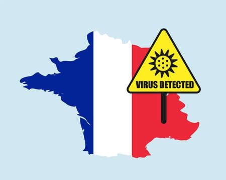 France flag with virus detected barrier. Corona Virus outbreak.