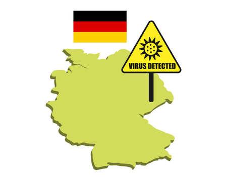 Germany flag with virus detected barrier. Corona Virus outbreak.
