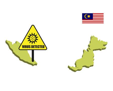 Malaysia flag with virus detected barrier. Corona Virus outbreak. Illustration