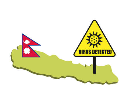 Nepal flag with virus detected barrier. Corona Virus outbreak.