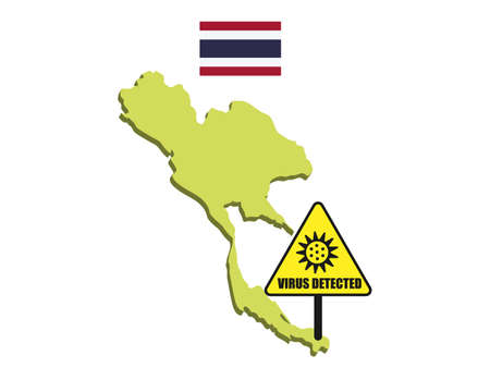 Thailand flag with virus detected barrier. Corona Virus outbreak.