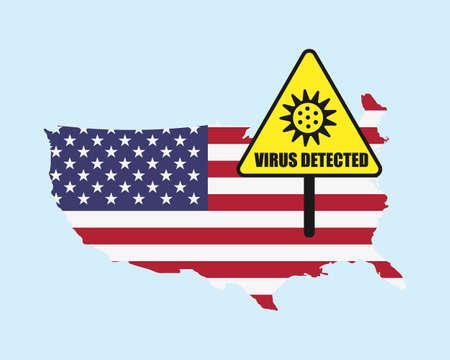 Usa flag with virus detected barrier. Corona Virus outbreak. Illustration