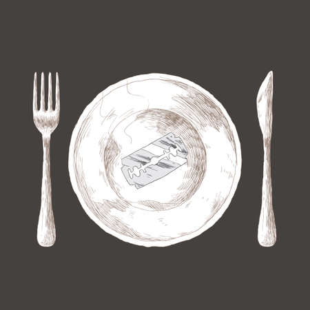 starving: Anorexia concept - razor blade on a plate