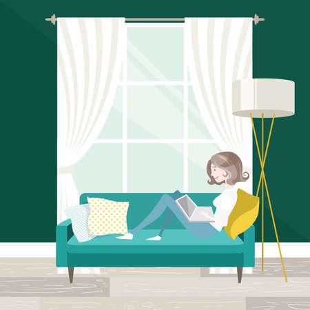 mid century: Female freelancer working on her laptop, sitting on the sofa