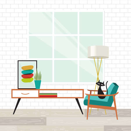 Cozy room scene with a cat in mid-century modern style Çizim