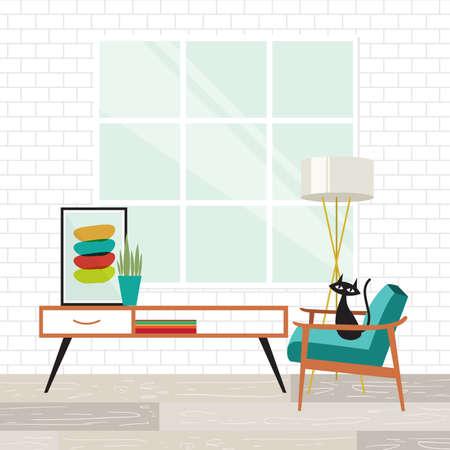 escena acogedora sala con un gato en el estilo moderno de mediados de siglo