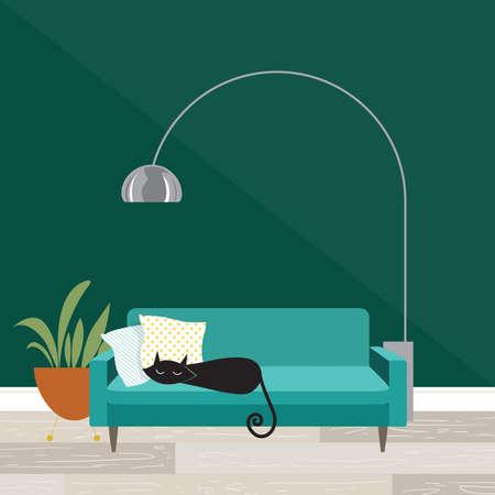 Scène de chambre confortable avec chat endormi dans un style moderne du milieu du siècle