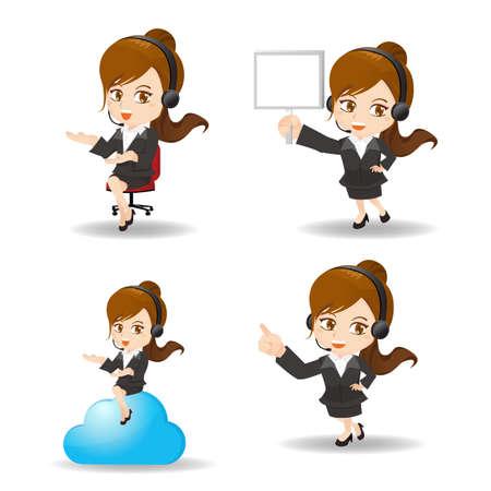 call center woman: Conjunto de la historieta del trabajador del servicio de la mujer de negocios del cliente, centro de llamadas del operador sonrisa con auricular de tel�fono.