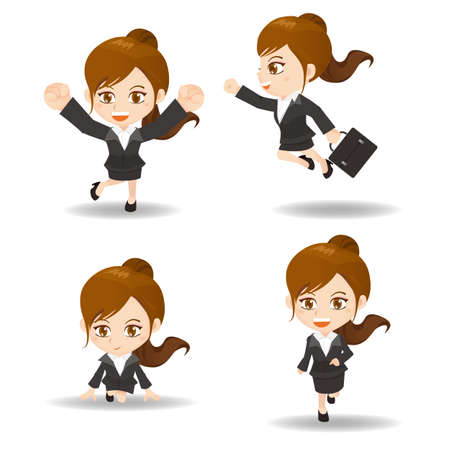 excited business woman: cartoon set of Success and excited Business woman