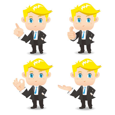 man full body: cartoon set of Business man in different poses. manager.