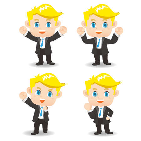 hombre caricatura: cartoon set of Success and excited Business man
