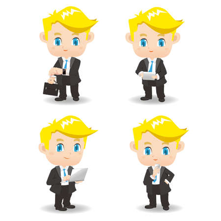 set of businessman: cartoon set of Business man use technology product, Smart watch wearable device, digital tablet pc, laptop, smart phone