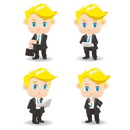 hombre caricatura: Conjunto de la historieta de los productos hombre de negocios el uso de tecnolog�a, dispositivo port�til reloj inteligente, PC tableta digital, ordenador port�til, tel�fono inteligente