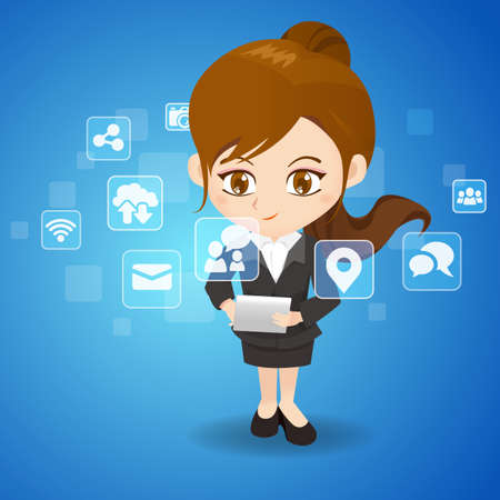 business woman with tablet: Social Media Concept - cartoon business woman use tablet pc