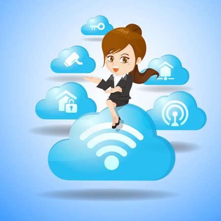 seguro social: Internet de las Cosas concepto - mujer de negocios de dibujos animados se sienta sobre la IO y el icono de la nube Vectores