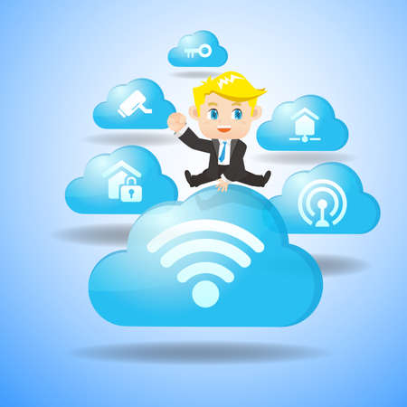 business jump: Internet of Things concept - Cartoon business man jump over IoT and cloud icon Illustration