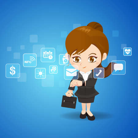 smart woman: Wearable Smart Watch concept - cartoon business woman use wearable smart watch Illustration