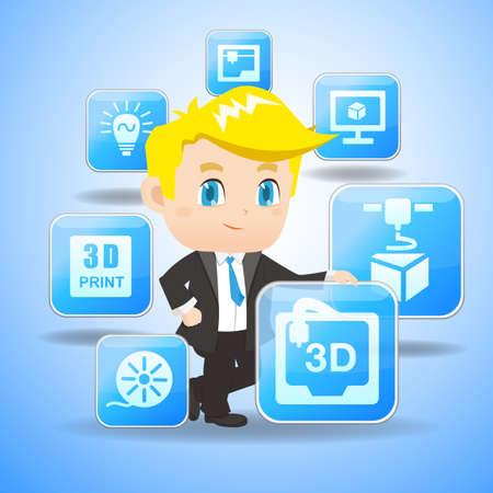 ingeniero caricatura: 3D concepto de impresi�n - Empresario de dibujos animados celebrar icono 3D de impresi�n App Vectores