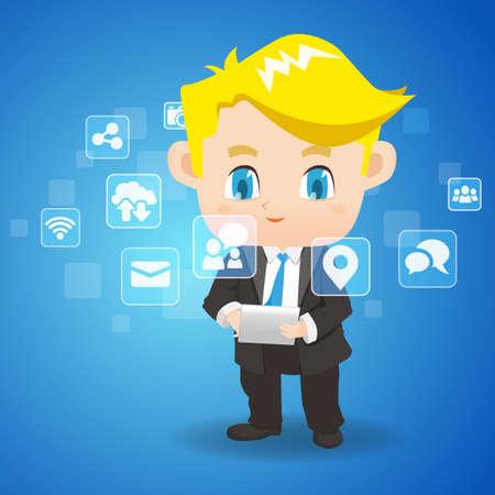 office: Social Media Concept - cartoon business man use tablet pc Illustration