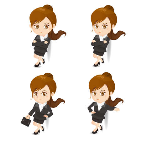 lean: cartoon illustration set of Success Business woman lean something