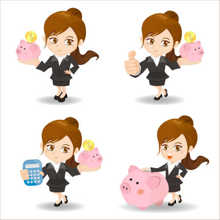 show business: Cartoon set of Business woman with piggy bank
