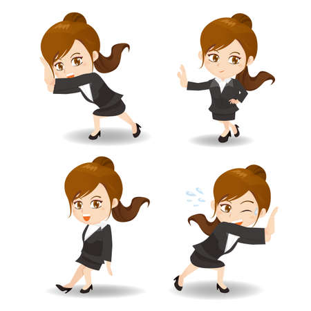 caricature: cartoon illustration set of Success and excited Business woman push something