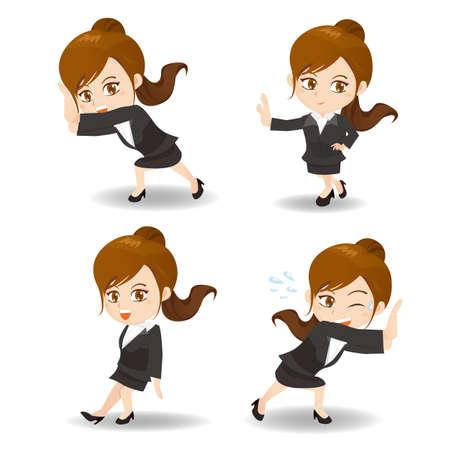 caricatura: ilustración de dibujos animados conjunto de Éxito y la mujer de negocios emocionados empuje algo Vectores