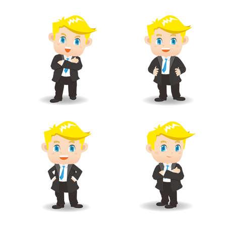 hombre caricatura: ilustraci�n de dibujos animados conjunto de �xito y el hombre de negocios emocionado