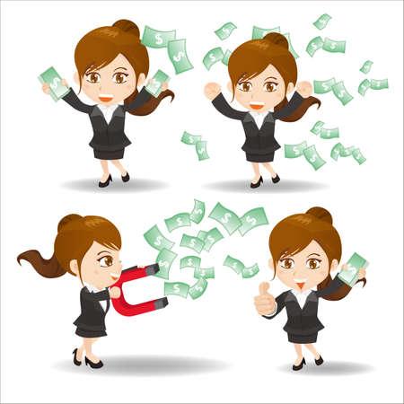 caricatura: Conjunto de dibujos animados de la mujer de negocios que muestran las finanzas y el dinero