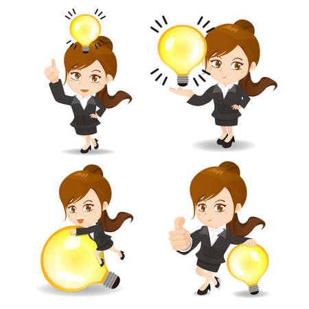 caricatura: concepto de la idea - ilustración de dibujos animados conjunto de Éxito y la mujer de negocios con la bombilla