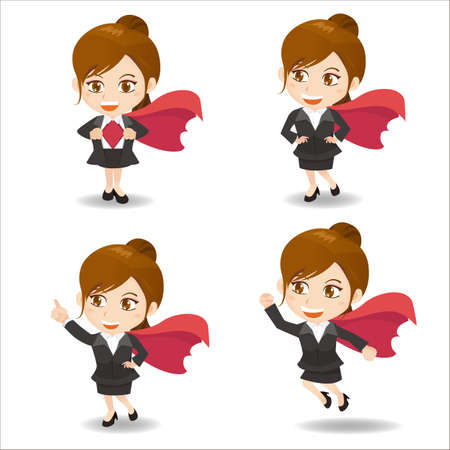 caricature woman: Cartoon set of business woman act as superwoman