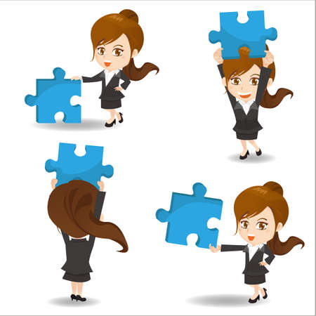 asian business people: Cartoon set of business woman hold puzzle
