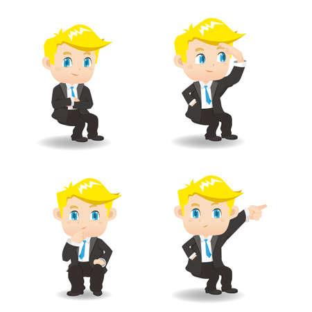 caucasian: cartoon set of businessman sit and show guesture, caucasian