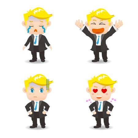 caucasian: Cartoon set of  business man facial expressions, caucasian