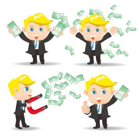 business money: Cartoon set of businessman show finance and money, caucasian Illustration