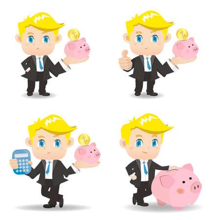 show bill: Conjunto de dibujos animados del hombre de negocios con la hucha, cauc�sico