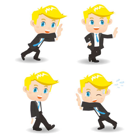 man full body: cartoon illustration set of Success and excited Business man push something