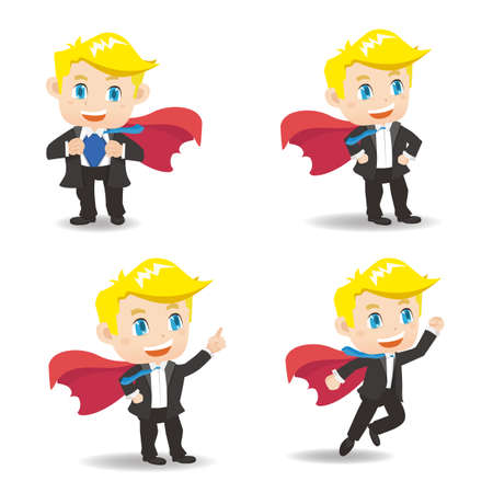 superman: Cartoon set of businessman act as superman,caucasian