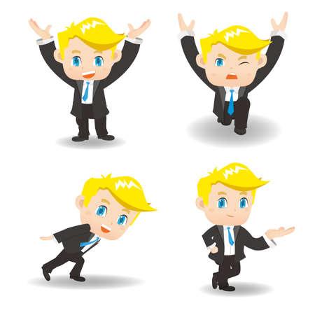 man full body: cartoon illustration set of Success Business man lift something