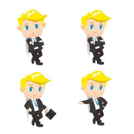 lean: cartoon illustration set of Success Business man lean something