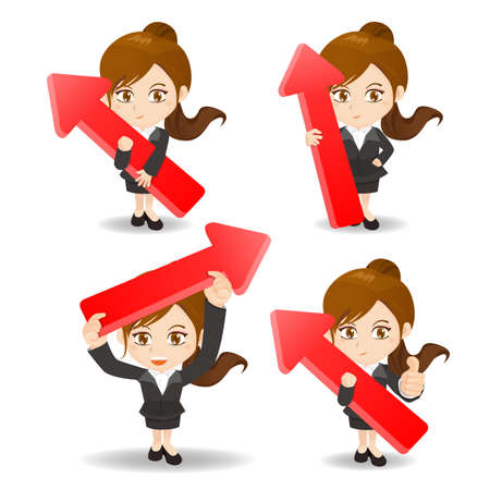 business solution: cartoon illustration set of business woman with arrow, growth concept